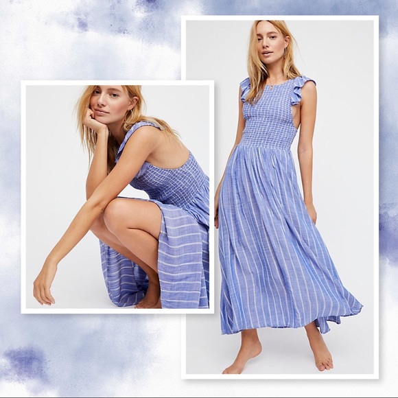 preview of special sales good quality Free People Dresses | Blue Chambray Butterflies Midi Dress | Poshmark